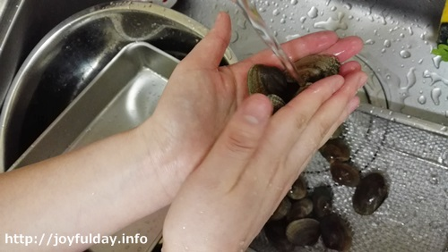 流水でアサリの殻の表面の汚れを落とす